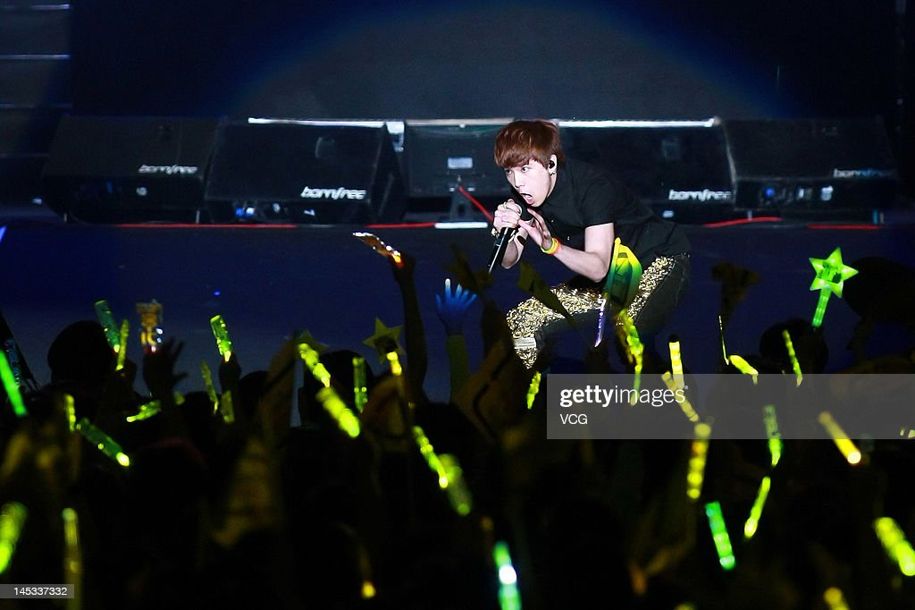 South Korean boy band FTisland perform on the stage at Taipei World Trade Center Nangang Exhibition Hall on May 26 2012 in Taipei Taiwan