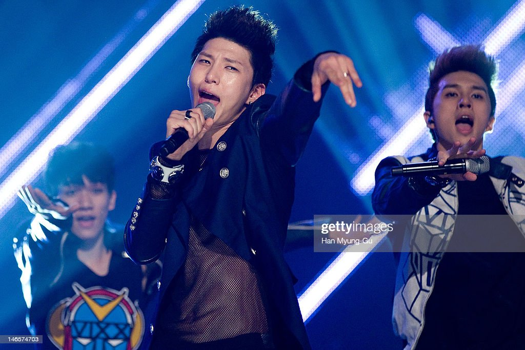 South Korean boy band Leo of VIXX performs on stage the MBC Music 'Show Champion' at AX Korea on June 19, 2012 in Seoul, South Korea.