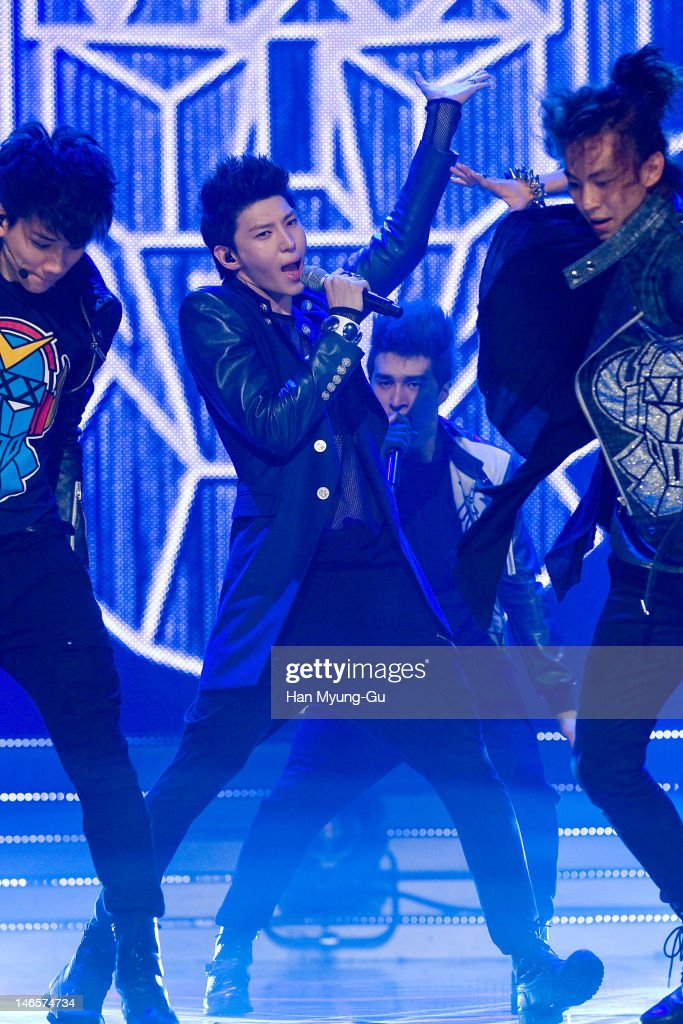 South Korean boy band Leo of VIXX performs on stage the MBC Music 'Show Champion' at AX Korea on June 12, 2012 in Seoul, South Korea.