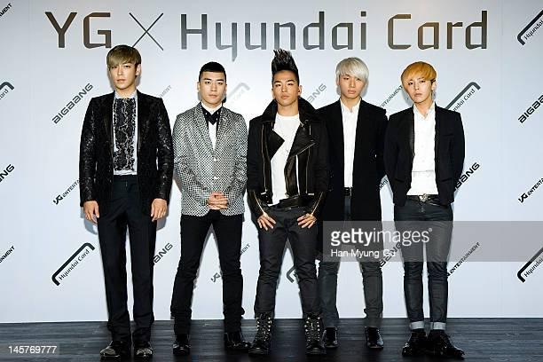 South Korean boy band TOPSeungriTaeyangDaesung and GDragon of Big Bang attend the Hyundai Card Collaboration With YG Entertainment at Hyundai Card...
