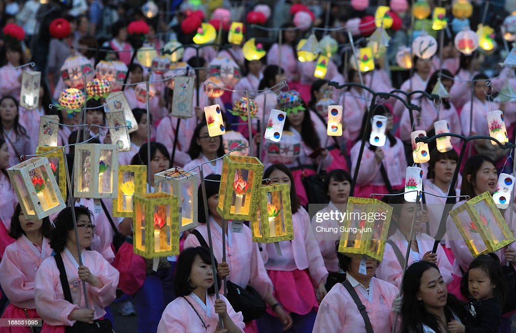 South Korean Buddhists march on the street as they prepare for the buddha's birthday on May 11, 2013 in Seoul, South Korea. Buddha was born approximately 2,557 years ago, and although the exact date is unknown, Buddha's official birthday is celebrated on the full moon in May in South Korea, which is on May 17 this year.