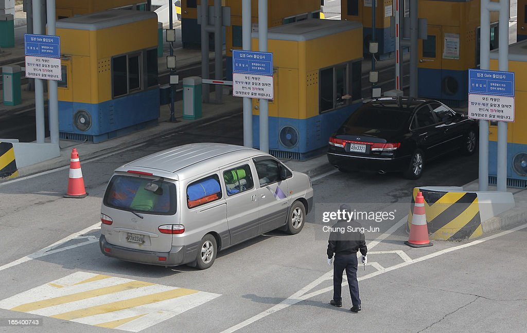 South Korean cars arriving from the Kaesong joint industrial complex in North Korea, at the inter-Korean transit office on April 4, 2013 in Paju, South Korea. 400 South Koreans remain in the joint industrial complex fearing they can not get back there once return to South. In recent weeks North Korea have threatened to attack South Korea and U.S. military bases.