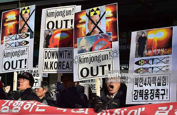 South Korean conservative activists shout slogans with placards showing portraits of North Korean leader Kim JongUn during a rally denouncing North...