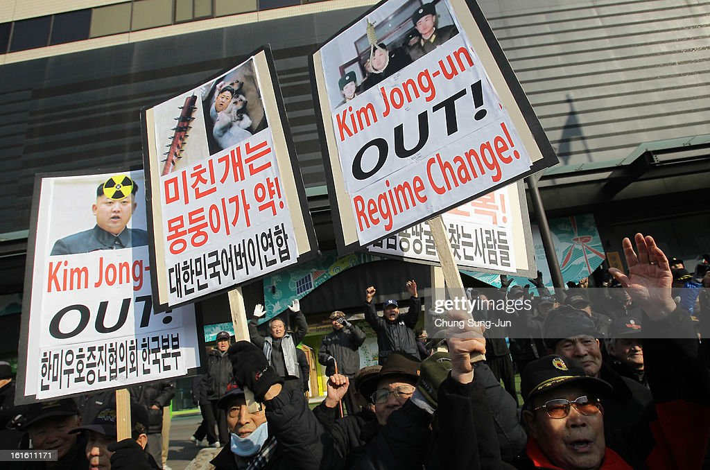 South Korean conservative protesters participate in a rally a day after North Korea announced they have conducted a third nuclear test on February 13, 2013 in Seoul, South Korea. North Korea claimed the device was smaller than in previous tests. Leaders around the world have condemned the nuclear test and have called for swift action against the reclusive country.