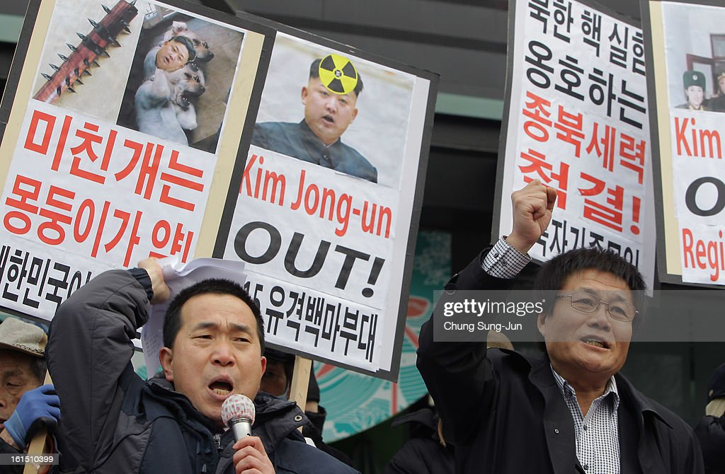 South Korean conservative protesters participate in the anti-North Korea rally demonstrating against North Korea's nuclear test on February 12, 2013 in Seoul, South Korea. North Korea confirmed it had successfully carried out an underground nuclear test, as a shallow earthquake with a magnitude of 4.9 was detected by several international monitoring agencies. South Korea and Japan both assembled an emergency meeting of their respective national security teams after the incident.