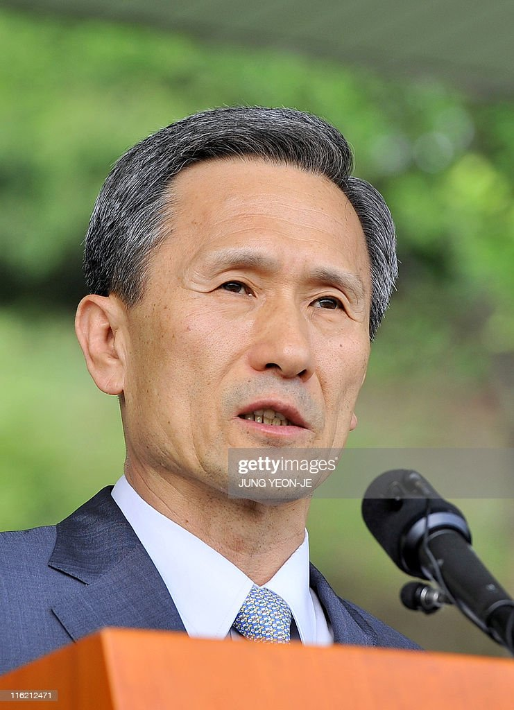 South Korean Defense Minister <a gi-track='captionPersonalityLinkClicked' href=/galleries/search?phrase=Kim+Kwan-Jin&family=editorial&specificpeople=4112030 ng-click='$event.stopPropagation()'>Kim Kwan-Jin</a> delivers a speech during an establishment ceremony of the Northwest Islands Defense Command at the headquarters of South Korean Marine Corps in Hwaseong, south of Seoul, on June 15, 2011. South Korea's military formed a new command to hit back harder against any future attacks by North Korea near the tense disputed Yellow Sea border.