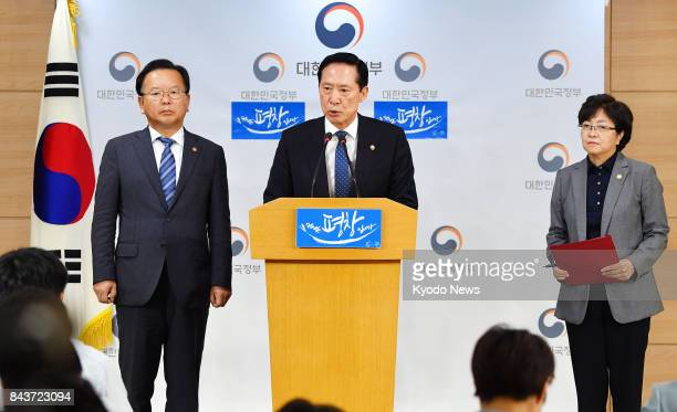 South Korean Defense Minister Song Young Moo speaks at a press conference in Seoul on Sept 7 seeking public understanding over the deployment of four...