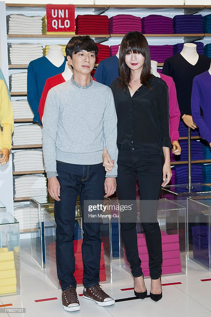 South Korean director Bae Doo-Han and actress <a gi-track='captionPersonalityLinkClicked' href=/galleries/search?phrase=Bae+Doo-Na&family=editorial&specificpeople=4079789 ng-click='$event.stopPropagation()'>Bae Doo-Na</a> attend during the 'Uniqlo' 2013 F/W Silk/Cashmere Project press event at Gangnam Uniqlo Store on August 29, 2013 in Seoul, South Korea.