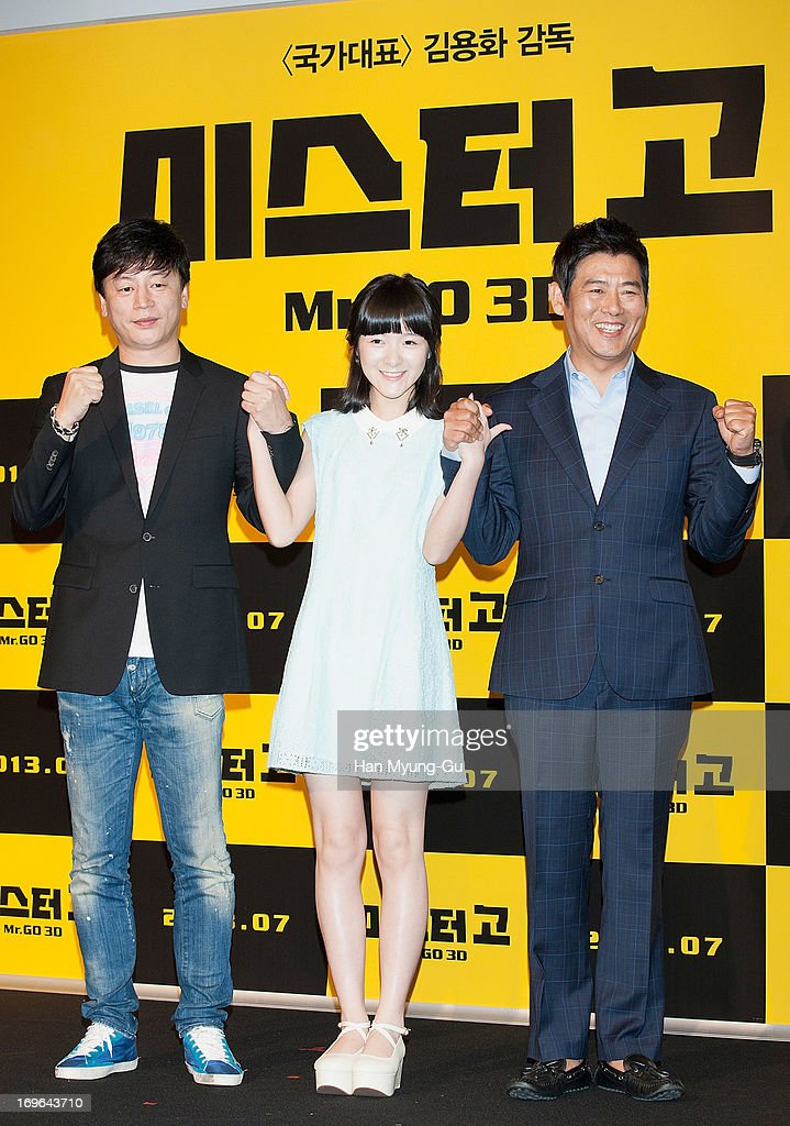 South Korean director Kim Yong-Hwa, Chinese actress Xu Jiao and South Korean actor Sung Dong-Il attend during a promotional event for the 'Mr. Go' Showcase at the Westin Chosun Hotel on May 29, 2013 in Seoul, South Korea. The film will open on July in South Korea.