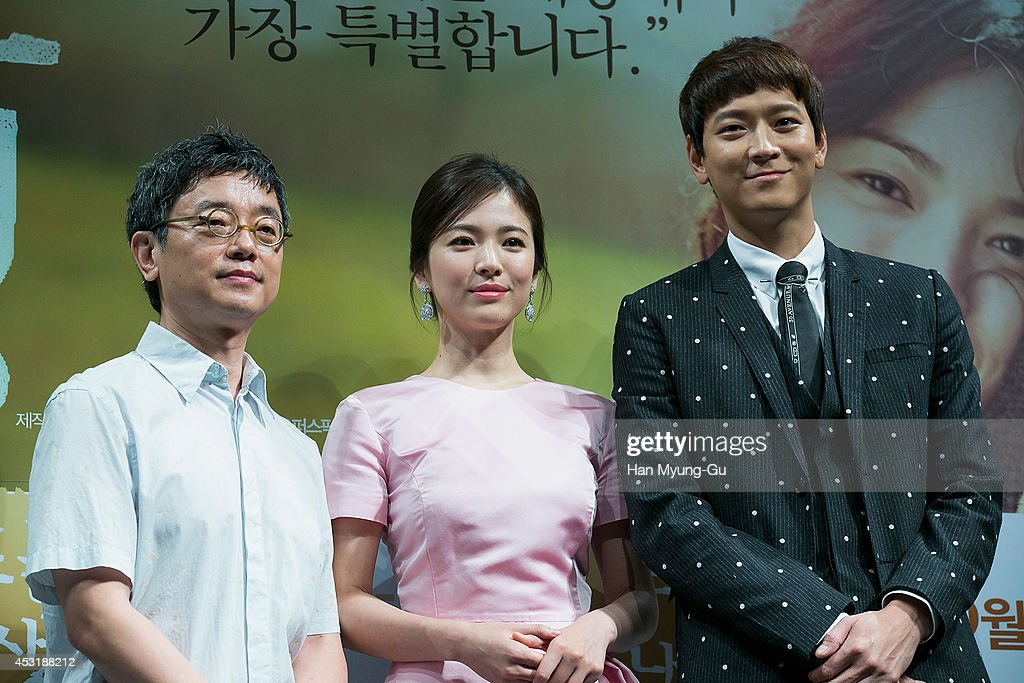 South Korean director Lee JaeYong actors Song HyeKyo and Gang DongWon attend the press conference for 'My Brilliant Life' at CGV on August 4 2014 in...