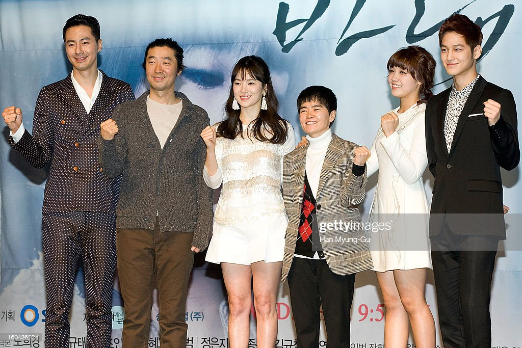 South Korean dramatist Noh Hee-Kyung, producer Kim Kyu-Tae, actors Zo In-Sung, Song Hye-Kyo, Jeong Eun-Ji (Jung Eun-Ji) and Kim Beom attend the SBS Drama 'Baramibunda' press conference at Blue Square Samsung Card Hall on January 31, 2013 in Seoul, South Korea. The drama will open on February 13 in South Korea.
