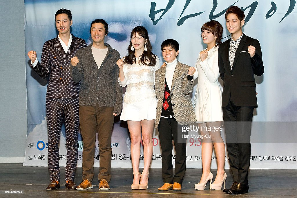 South Korean dramatist Noh Hee-Kyung, producer Kim Kyu-Tae, actors Zo In-Sung, <a gi-track='captionPersonalityLinkClicked' href=/galleries/search?phrase=Song+Hye-Kyo&family=editorial&specificpeople=4238502 ng-click='$event.stopPropagation()'>Song Hye-Kyo</a>, Jeong Eun-Ji (Jung Eun-Ji) and Kim Beom attend the SBS Drama 'Baramibunda' press conference at Blue Square Samsung Card Hall on January 31, 2013 in Seoul, South Korea. The drama will open on February 13 in South Korea.