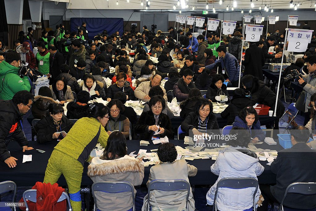 South Korean election officials count ballots for the presidential election at a high school gymnasium in Seoul on December 19, 2012. South Korea's presidential vote ended on December 19 with exit polls giving a tiny edge to conservative Park Geun-Hye, daughter of late dictator Park Chung-Hee, in her bid to be the country's first woman leader.