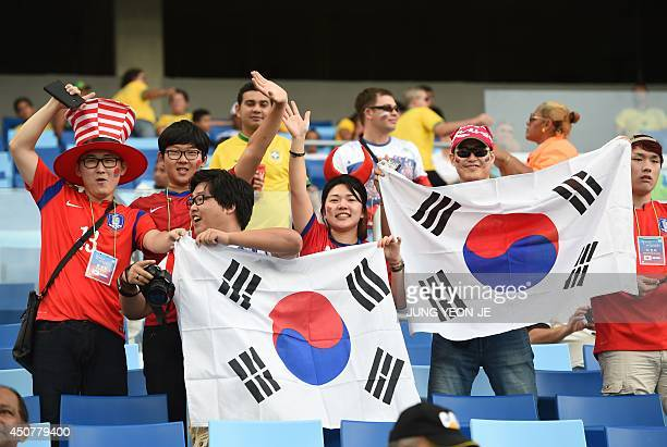 South Korean fans wave their national flag as they await the kickoff of a Group H football match between Russia and South Korea in the Pantanal Arena...