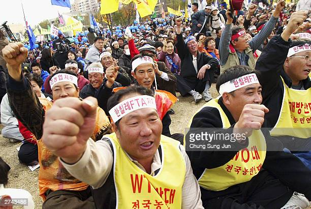 South Korean farmers protest during an antiFTA and antigovernment rally near the national assembly on November 19 2003 in Seoul South Korea The...