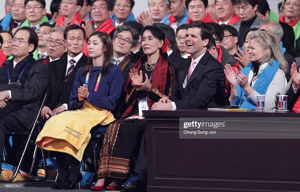 South Korean figure skater Yuna Kim, Pro-democracy leader Aung San Suu Kyi and Timothy Shriver, CEO of Special Olympic attend the Opening Ceremony of the 2013 Pyeongchang Special Olympics World Winter Games at the Yongpyeong stadium on January 29, 2013 in Pyeongchang-gun, South Korea.