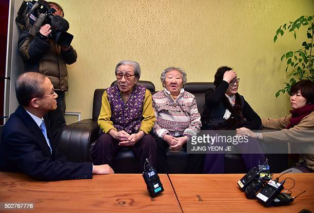 South Korean First Vice Foreign Minister Lim SungNam explains the government's position at talks with former 'comfort women' Kim BokDong Gil WonOk...
