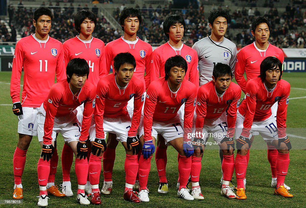 South Korean football team line up during the 2010 FIFA World Cup qualifying match between South Korea and Turkmenistan at SangAm Stadium on February 6, 2008 in Seoul, South Korea.