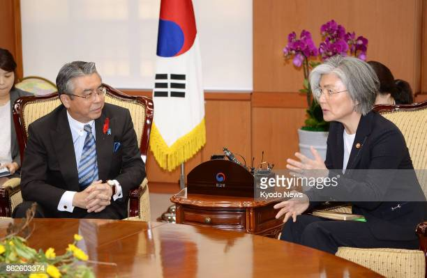 South Korean Foreign Minister Kang Kyung Wha meets with Japanese Vice Foreign Minister Shinsuke Sugiyama in Seoul on Oct 18 prior to the meeting with...