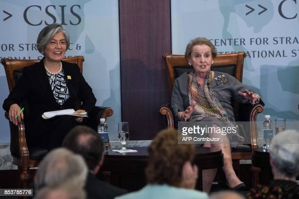 South Korean Foreign Minister Kang Kyungwha and former US secretary of state Madeline Albright discuss the situation on the Korean peninsula at the...