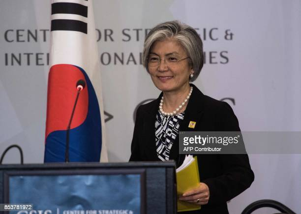 South Korean Foreign Minister Kang Kyungwha arrives to speak about the situation on the Korean peninsula at the Center for Strategic and...