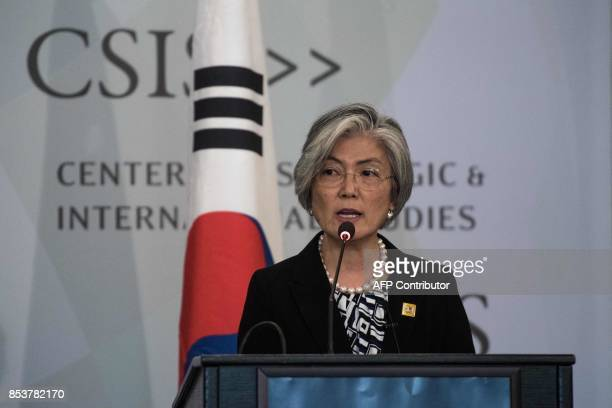 South Korean Foreign Minister Kang Kyungwha speaks about the situation on the Korean peninsula at the Center for Strategic and International Studies...