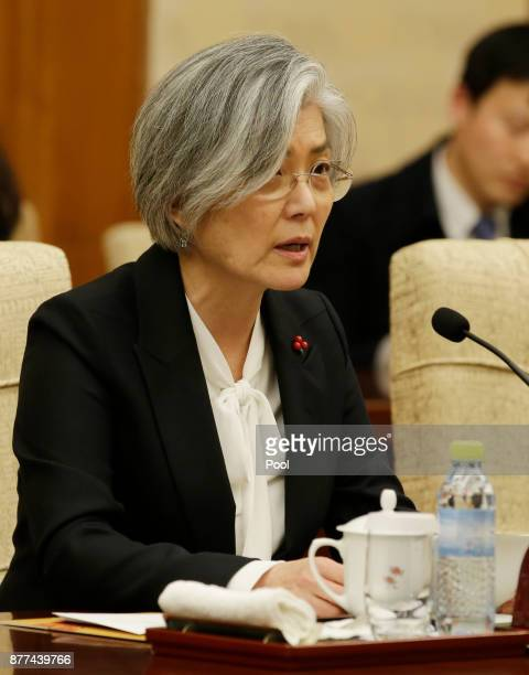 South Korean Foreign Minister Kang Kyungwha speaks during a meeting with China's Foreign Minister Wang Yi at Diaoyutai State Guesthouse on November...