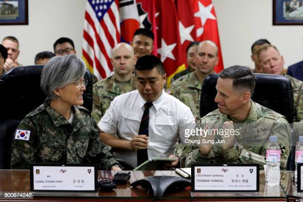 South Korean Foreign Minister Kang Kyungwha talks with Lieutenant General Thomas Vandal commander of the US 8th Army as she visits the headquarters...