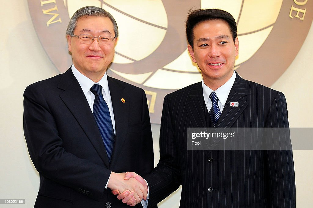 South Korean Foreign Minister Kim SungHwan shakes hands with Japanese Foreign Minister Seiji Maehara before their meeting on January 15 2011 in Seoul...