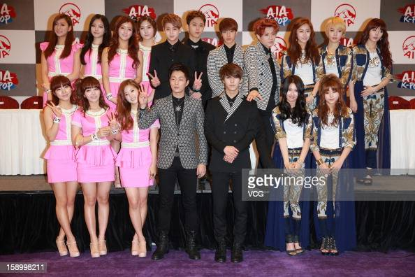 South Korean Girl Group Pink Boy Band Beast Picture Aia Pop Live Hong Kong Press Conference Foto