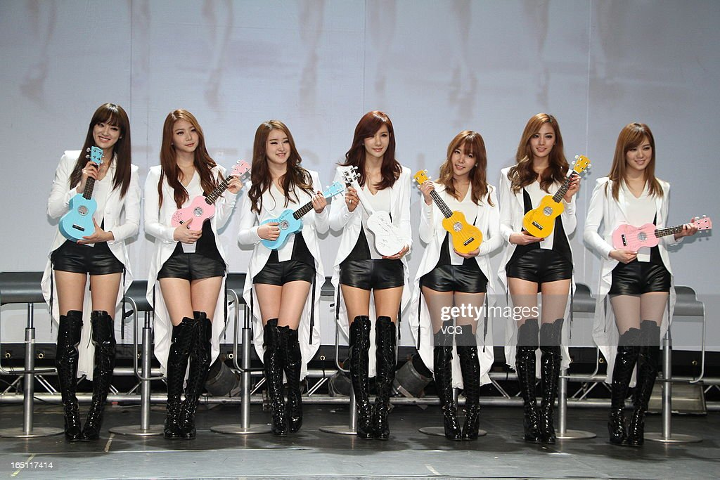 South Korean girl group After School attend a press conference at ATT Show Box on March 30, 2013 in Taipei, Taiwan.