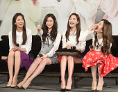 South Korean girl group Dal Shabet attend a press conference on March 25 2016 in Taipei Taiwan of China