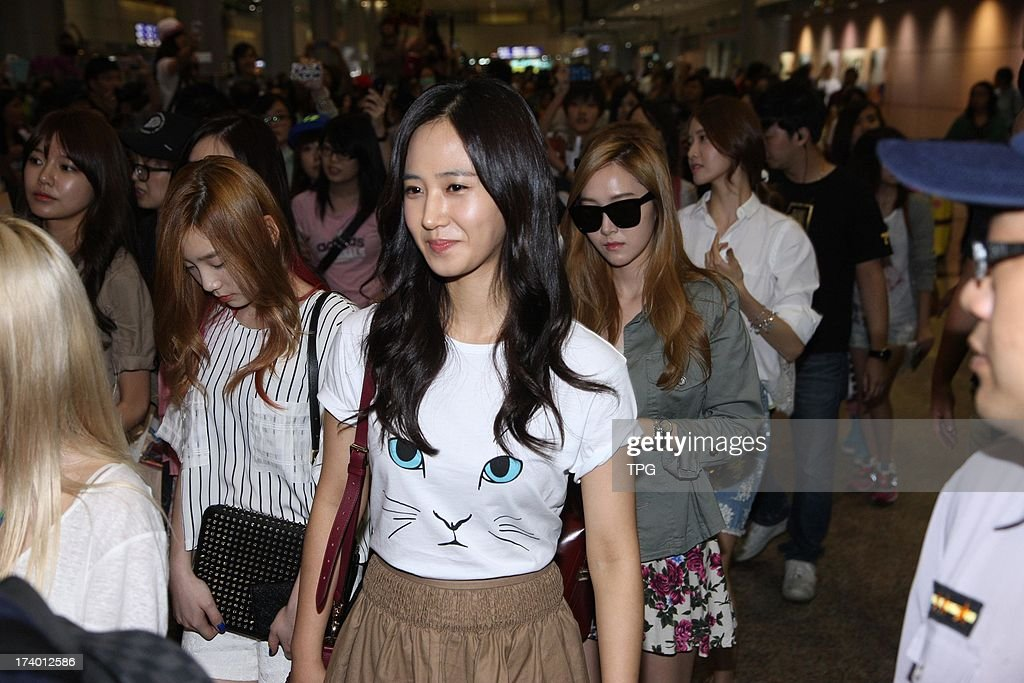 South Korean girl group Girls' Generation arrive Taipei airport on Friday July 19,2013 in Taipei Taiwan,China.