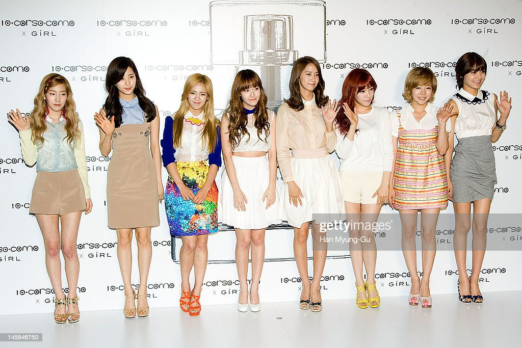 South Korean girl group, Girls' Generation pose for media at a launching party for collaboration between '10 Corso Como' and perfume 'Girl' on June 7, 2012 in Seoul, South Korea.
