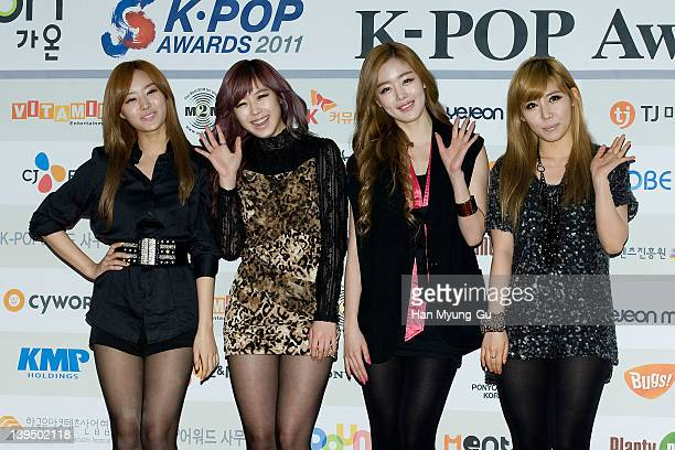 South Korean girl group Secret arrive during the 1st Gaon Chart KPOP Awards at Blue Square on February 22 2012 in Seoul South Korea