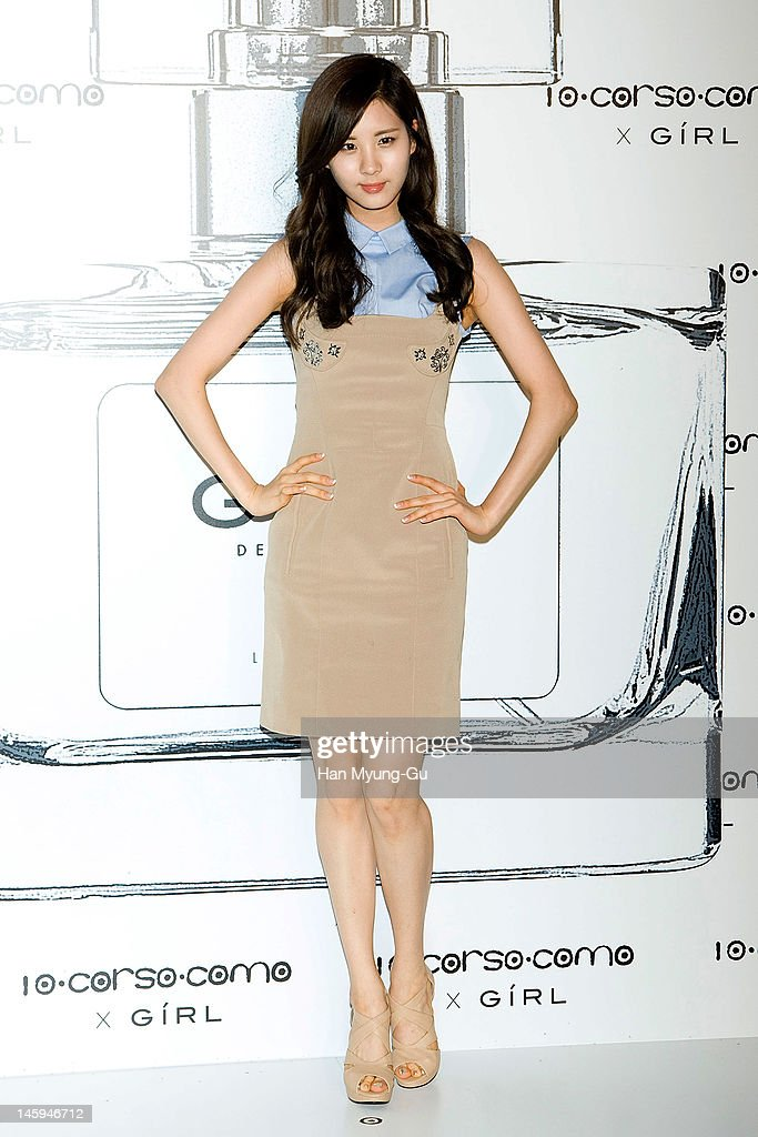 South Korean girl group, Seohyun of Girls' Generation poses for media at a launching party for collaboration between '10 Corso Como' and perfume 'Girl' on June 7, 2012 in Seoul, South Korea.