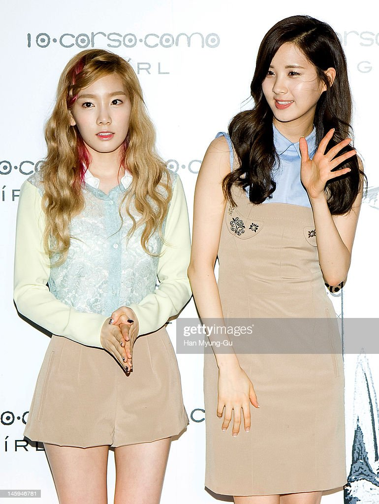South Korean girl group, Taeyeon and Seohyun of Girls' Generation poses for media at a launching party for collaboration between '10 Corso Como' and perfume 'Girl' on June 7, 2012 in Seoul, South Korea.