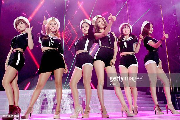 South Korean girl group Tara perform onstage during the SinoKorean Stars Charity Concert at Tianjin Olympic Center Stadium on October 11 2015 in...