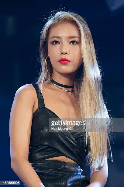 South Korean girl group Wonder Girls attends the press showcase for their Third Album 'ReBoot' on August 3 2015 in Seoul South Korea