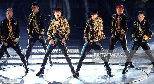 South Korean group Tohoshinki holds live at Taipei Arena on December 13 2014 in Taipei Taiwan of China