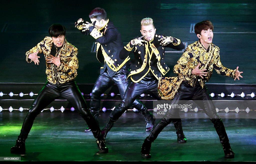 South Korean group Tohoshinki holds live at Taipei Arena on December 13 2014 in Taipei Taiwan of China