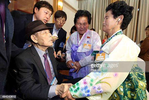 South Korean Gu SangYeon 98 meets his North Korean daughters Ku SongOk and Ku SunOk during the family reunion after being separated for 60 years on...
