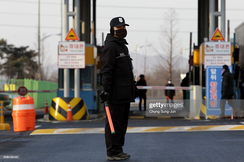 A South Korean guard is on patrol at the customs, immigration and quarantine (CIQ) office on February 11, 2016 in Paju, South Korea. South Korea announced on February 10, 2016 that the country would close an industrial complex jointly ran with North Korea, as the strongest response for North's recent nuclear test and rocket launch.