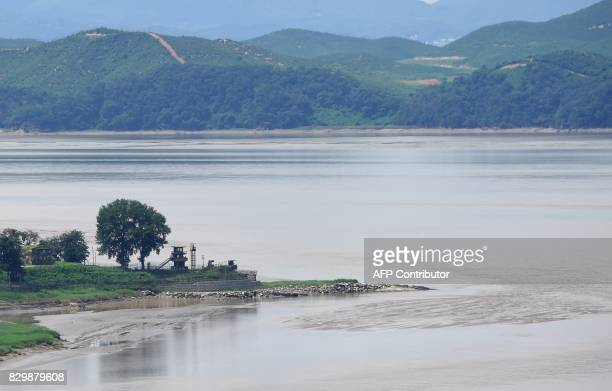 A South Korean guard post overlooks North Korea's border county of Kaepoong as seen from a South Korean observation post in Paju near the...
