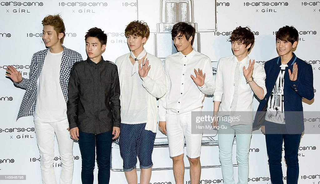 South Korean idol boy band, EXO-K pose for media at a launching party for collaboration between '10 Corso Como' and perfume 'Girl' on June 7, 2012 in Seoul, South Korea.