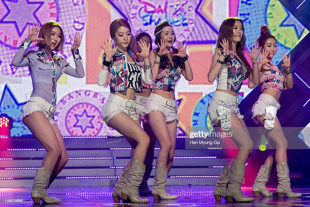 South Korean idol girl group Dal Shabet performs on stage the MBC Music 'Show Champion' at AX Korea on June 19, 2012 in Seoul, South Korea.