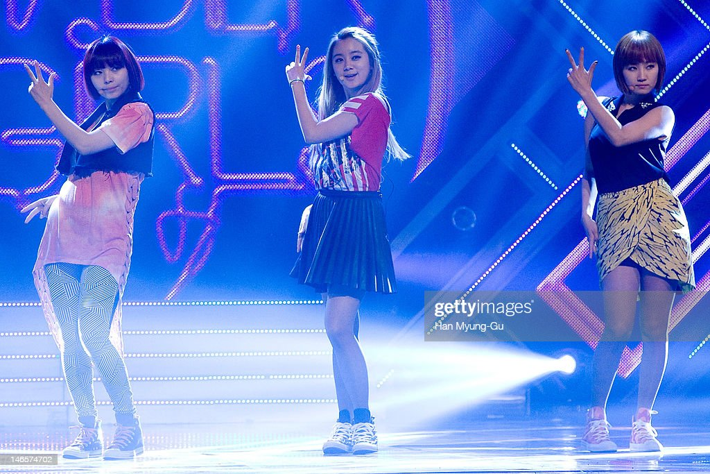 South Korean idol girl group Sun,Lim and Yenny of <a gi-track='captionPersonalityLinkClicked' href=/galleries/search?phrase=Wonder+Girls&family=editorial&specificpeople=5637005 ng-click='$event.stopPropagation()'>Wonder Girls</a> perform on stage the MBC Music 'Show Champion' at AX Korea on June 19, 2012 in Seoul, South Korea.