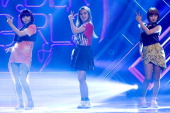 South Korean idol girl group SunLim and Yenny of Wonder Girls perform on stage the MBC Music 'Show Champion' at AX Korea on June 19 2012 in Seoul...