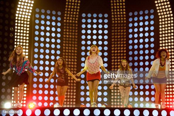 South Korean idol girl group Wonder Girls perform on stage the MBC Music 'Show Champion' at AX Korea on June 12 2012 in Seoul South Korea