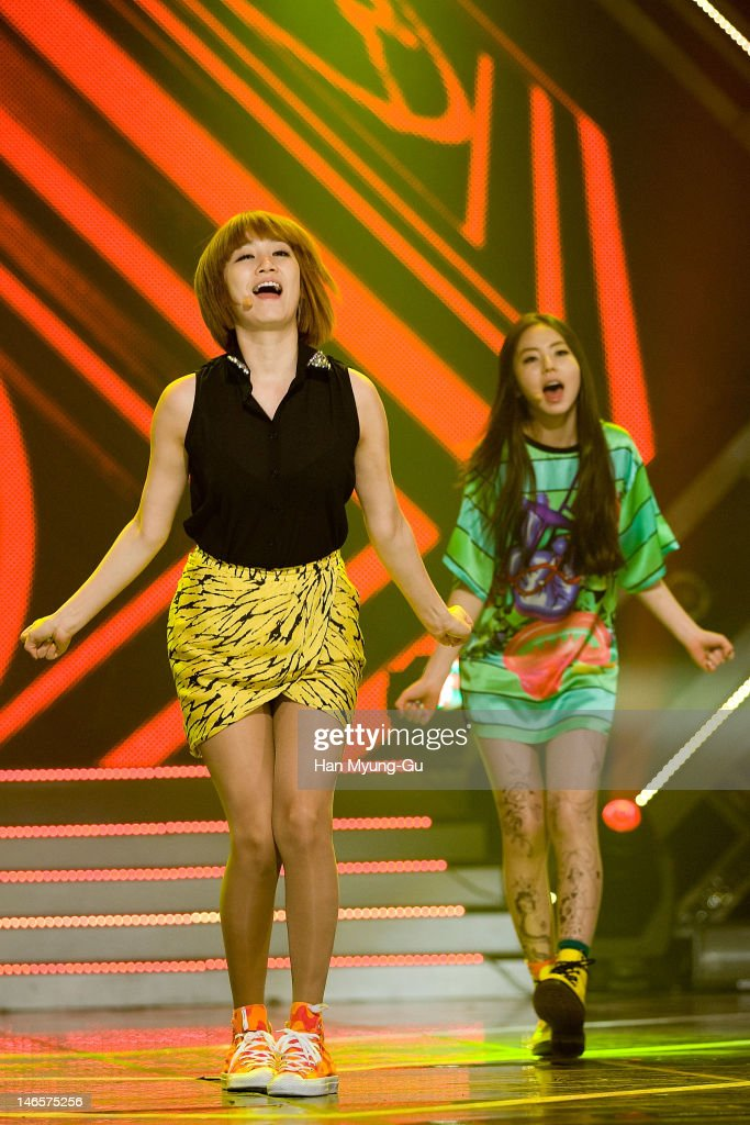 South Korean idol girl group Yenny and Sohee of Wonder Girls perform on stage during the MBC Music 'Show Champion' at AX Korea on June 19, 2012 in Seoul, South Korea.